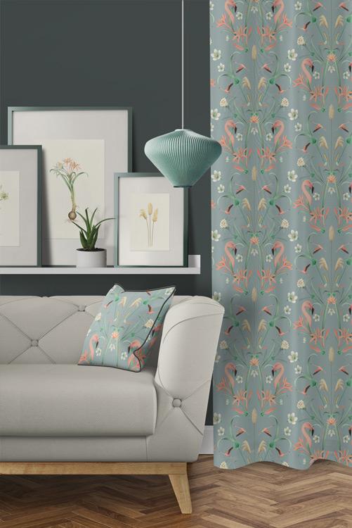 tela-de-algodon-estampada-cortinas-cojines-tropical-con-FLAMENCOS-BLUE-donana-salon-detalle