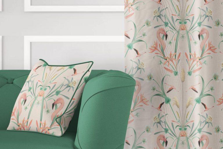 tela-de-algodon-estampada-cortinas-cojines-tropical-con-FLAMENCOS-NUDE-donana-cojin-detalle