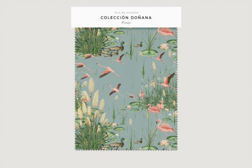 tela-de-algodon-estampada-cortinas-cojines-tropical-con-flamencos-PAISAJE-donana-FICHA