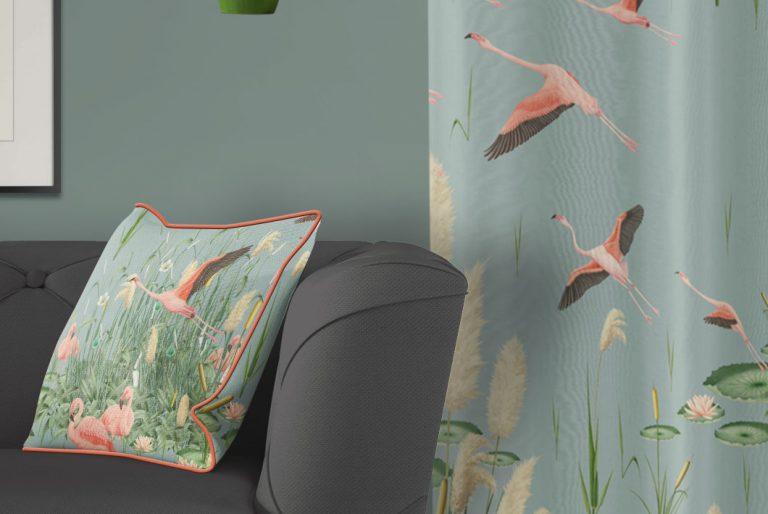tela-de-algodon-estampada-cortinas-cojines-tropical-con-flamencos-PAISAJE-donana-cojin-detalle
