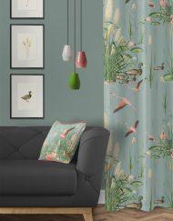 tela-de-algodon-estampada-cortinas-cojines-tropical-con-flamencos-PAISAJE-donana-salon-detalle
