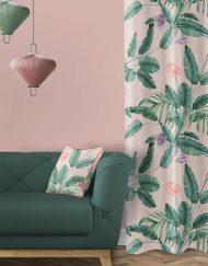 tela-de-algodon-estampada-cortinas-cojines-tropical-con-flamencos-TROPICAL-SELVA-PARADISE-salon-detalle