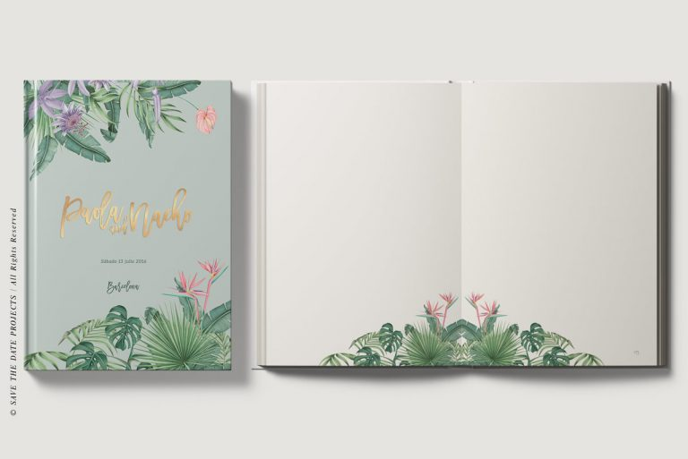 Libro-de-firmas-tropical-personalizado-verde-portada-y-ojas-interiores