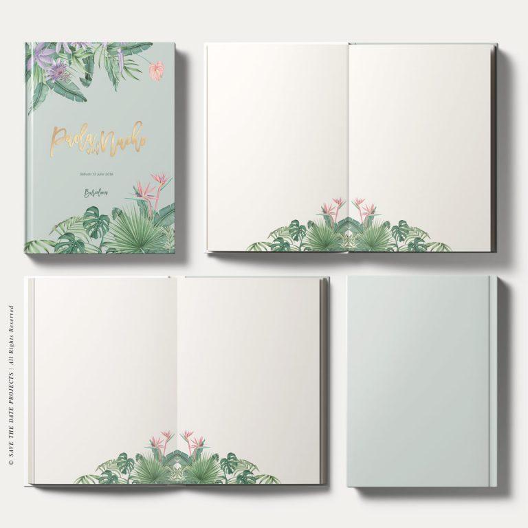 Libros de firmas bodas tropical selva verde Save the date projects