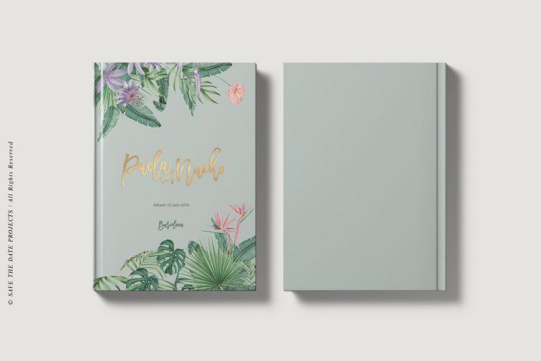 Libros de testigos personalizados portada y contraportada tropical selva verde