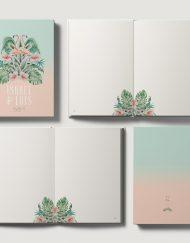 Libros de firmas personalizados boda tropical flamencos