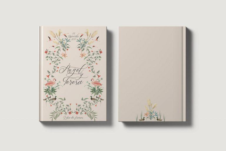 Libros de testigos personalizados portada y contraportada donana