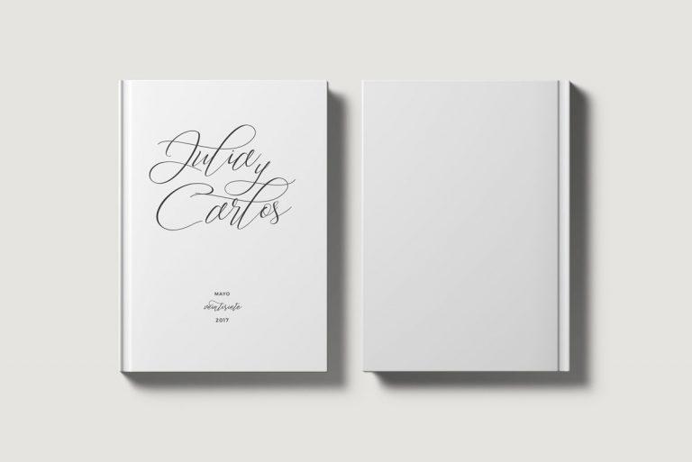 Libros de testigos personalizados portada y contraportada lettering