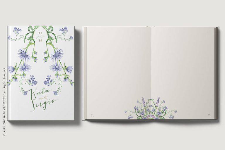 Portada e interiores libro de firmas bodas botanicas I