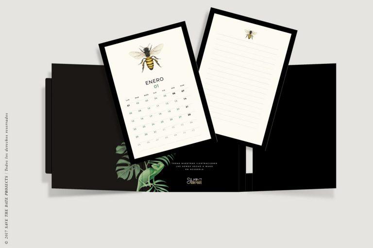 calendario-2018-bichos-con-helechos-bloc-de-notas-soporte-de-laminas-botanicas-con-abejas-2