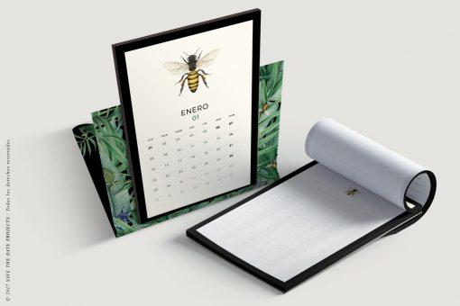 calendario-2018-bichos-con-helechos-bloc-de-notas-soporte-de-laminas-botanicas-con-abejas-4