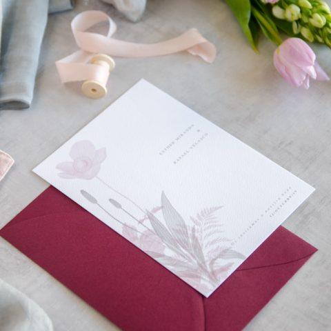 Invitaciones de boda originales romanticas gris rosa-21