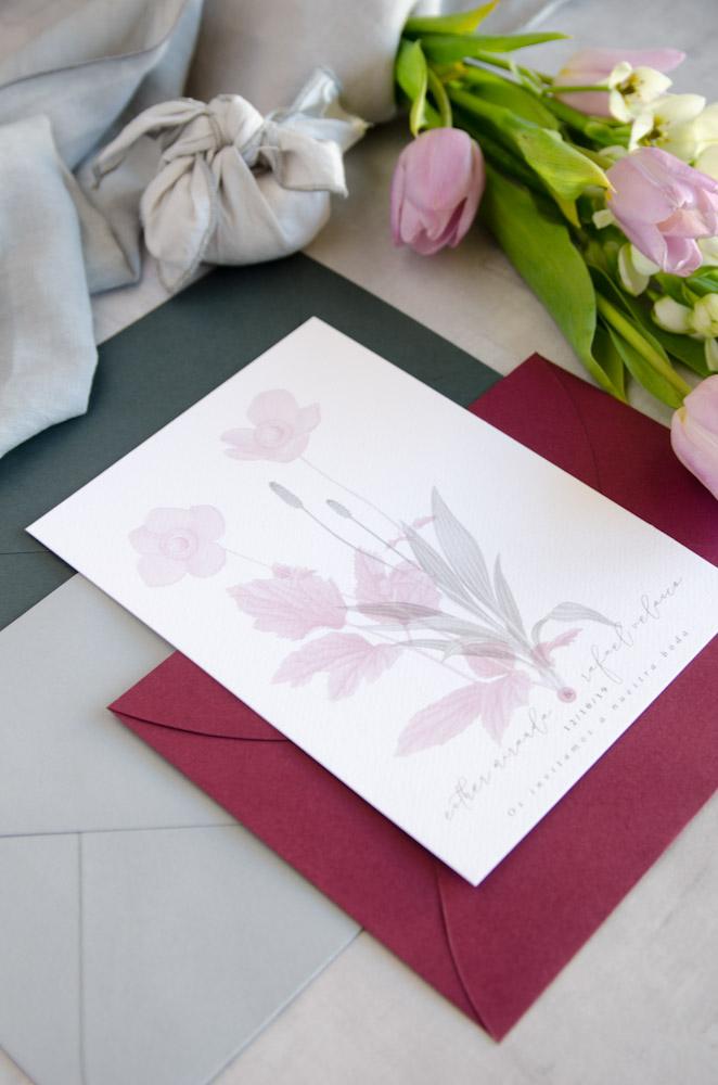 Invitaciones de boda originales romanticas gris rosa-213