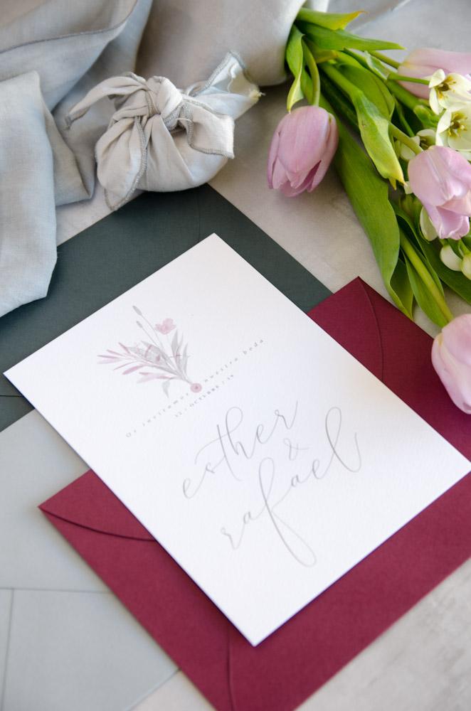 Invitaciones de boda originales romanticas gris rosa-222