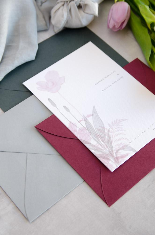 Invitaciones de boda originales romanticas gris rosa-227