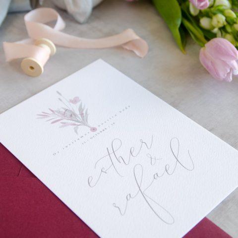 Invitaciones de boda originales romanticas gris rosa-3
