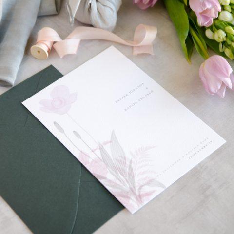Invitaciones de boda originales romanticas gris rosa-86