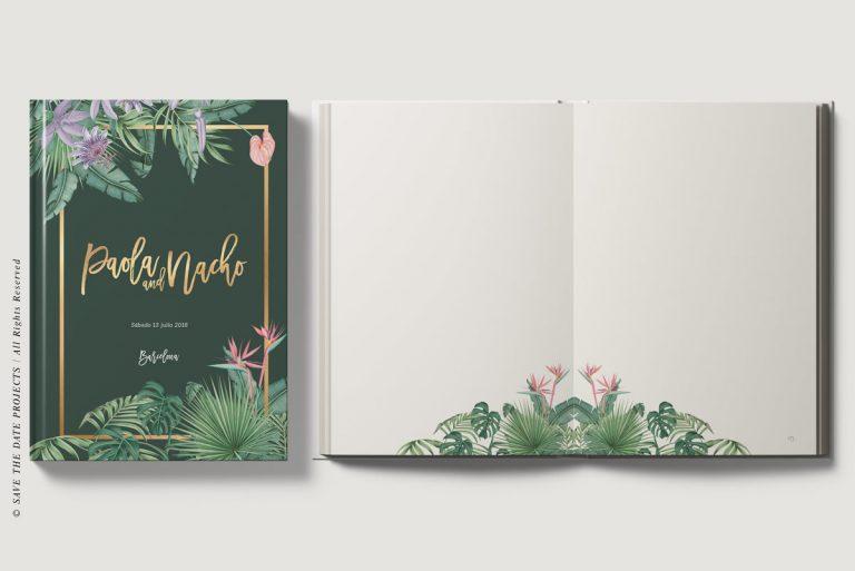 Libro-de-firmas-tropical-personalizado-verde-oscuro-portada-y-ojas-interiores