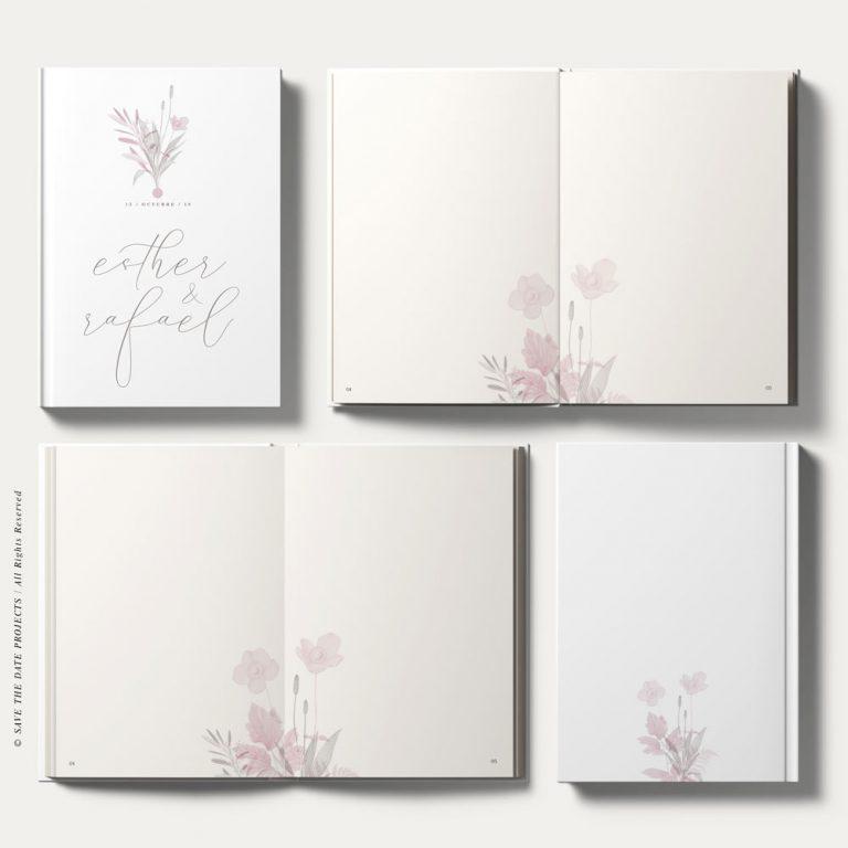 Libro de invitados boda amapola ramo completo