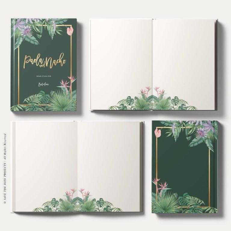 Libros de firmas boda tropical selva verde oscuro