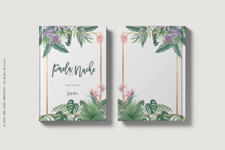 Libros de firmas personalizados bodas tropicales portada ycontraportada save the date projects