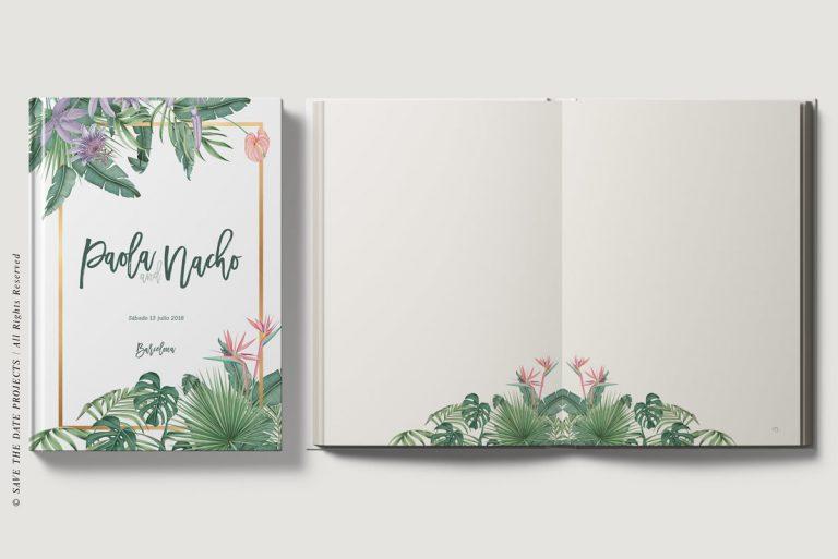 Libros de firmas tropicales bodas abierto y cerrado save the date projects