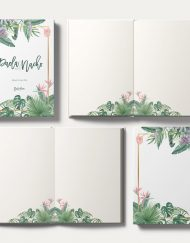 Libros de firmas tropicales bodas cenital hojas interiores save the date projects