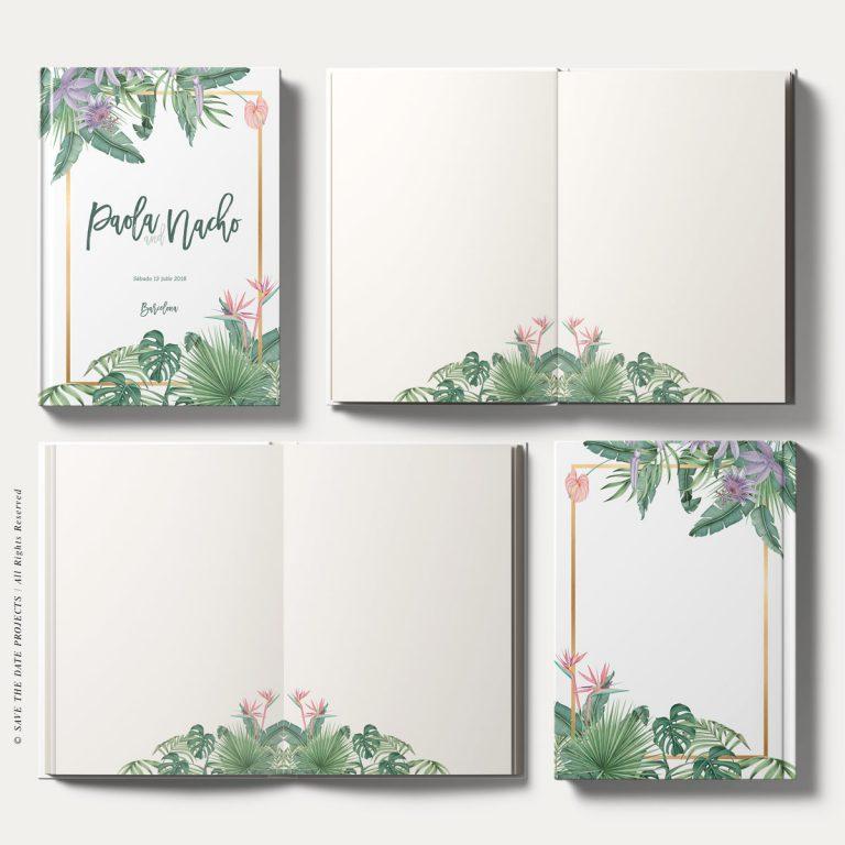 Libros de firmas tropicales bodas cenital hojas interiores save the date projects