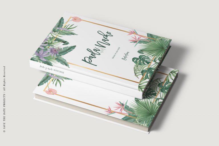 Libros de firmas tropicales bodas dos libros save the date projects