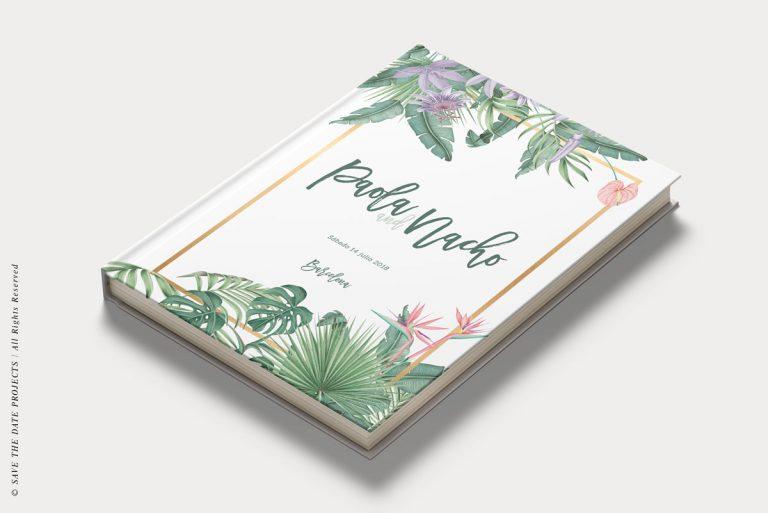 Libros de firmas tropicales bodas portada save the date projects