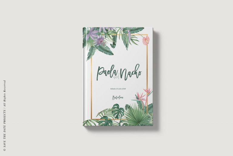 Libros de firmas tropicales selva bodas portada save the date projects