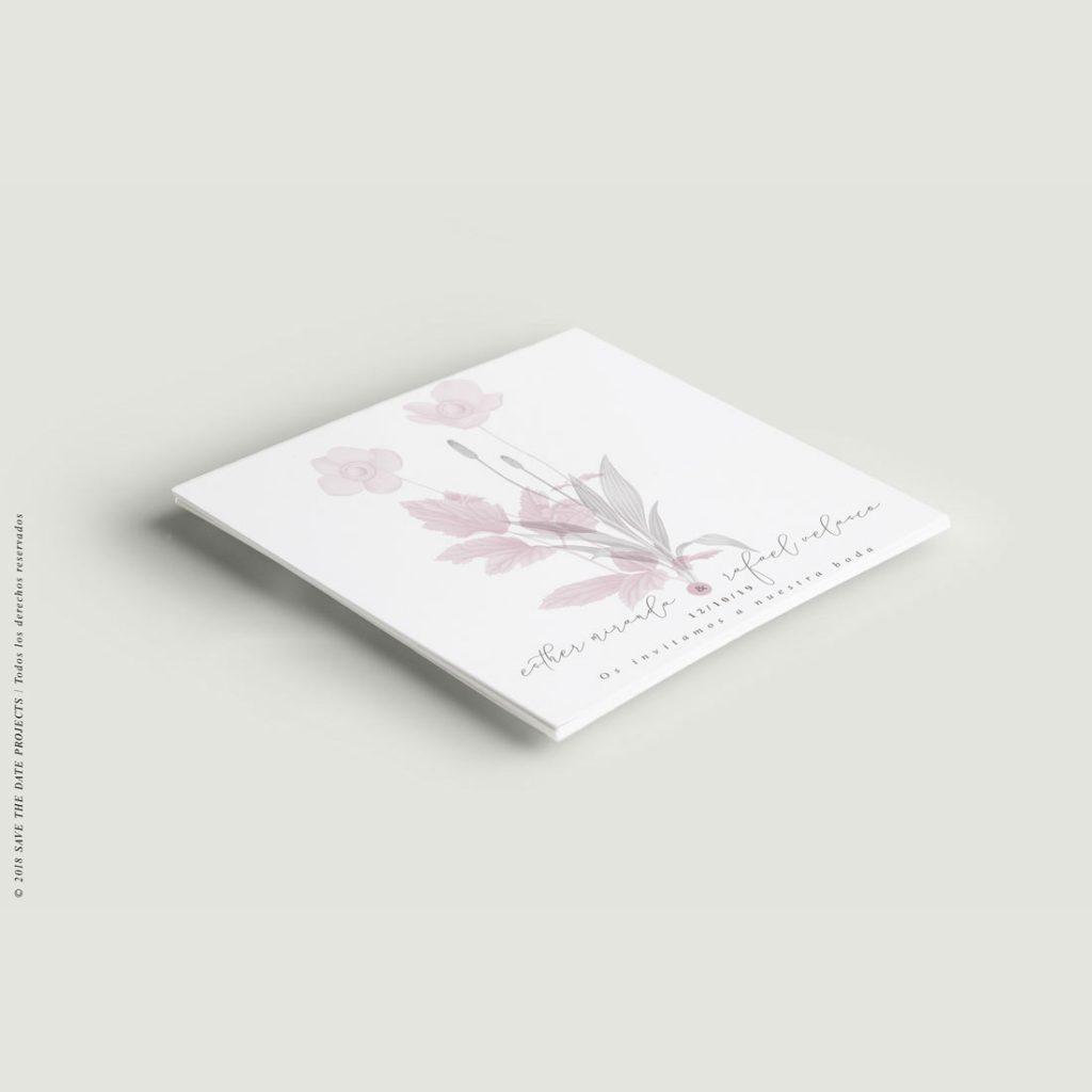 invitaciones de boda con flores amapola