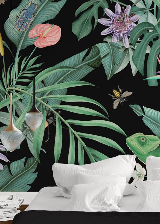 papel-pintado-tropical-fondo-negro-con-flamencos-MURAL-HABITACION-detalle