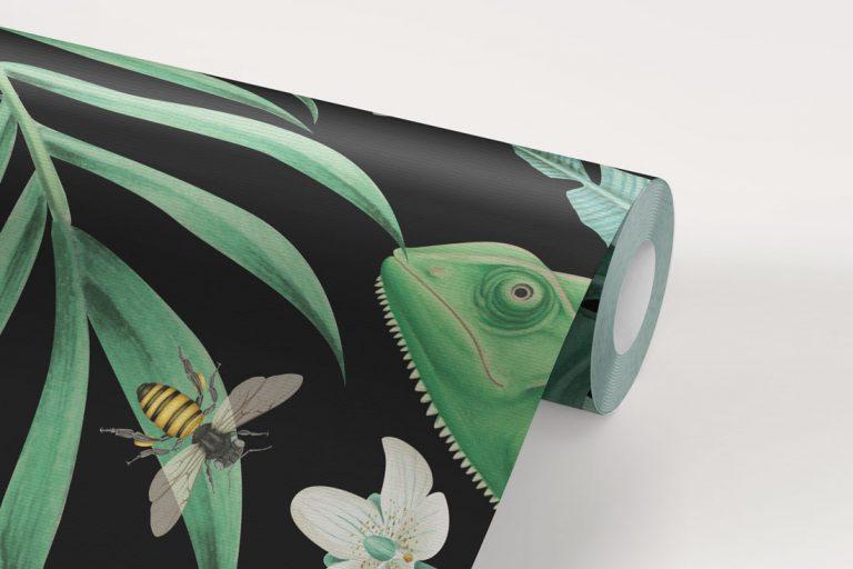 papel-pintado-tropical-fondo-negro-con-flamencos-MURAL-rollo-detalle