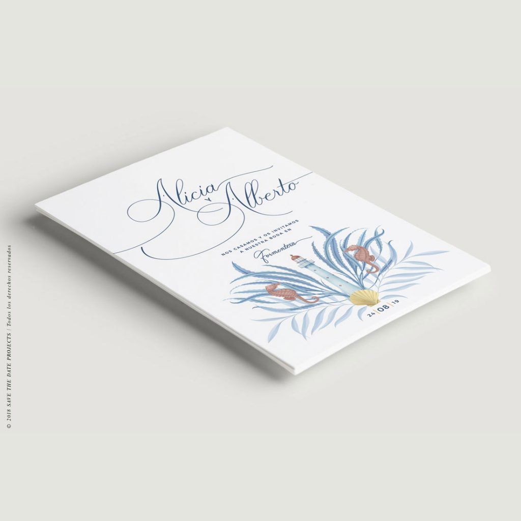Invitación de boda civil marinera