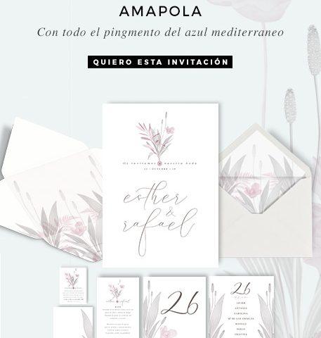 Invitaciones de boda flores de amapola