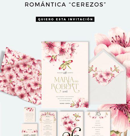 Invitación Romántica Flor del Cerezo