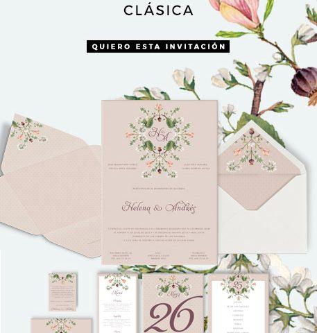 Invitación Clásica Con Flores