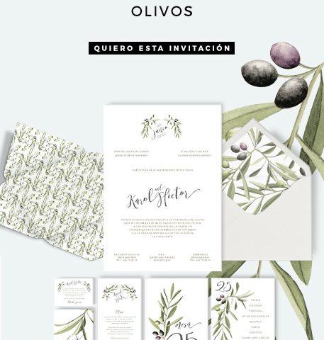Invitación de boda con olivos