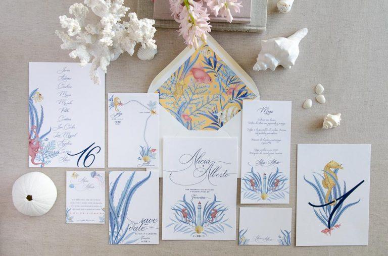 Invitaciones de boda originales playa mar peces-0021