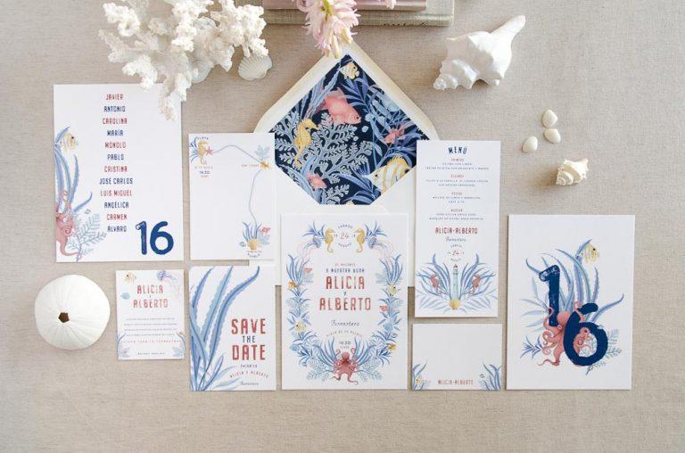 Invitaciones de boda originales playa mar peces-0036