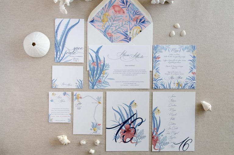 Invitaciones de boda originales playa mar peces-0066