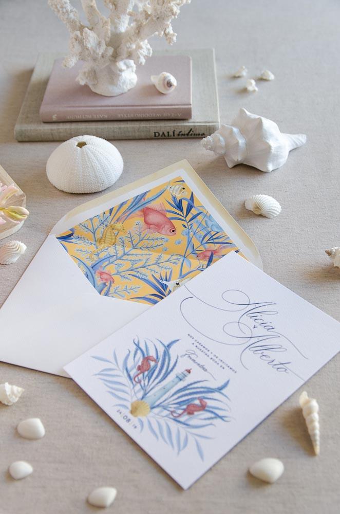 Invitaciones de boda originales playa mar peces-9615
