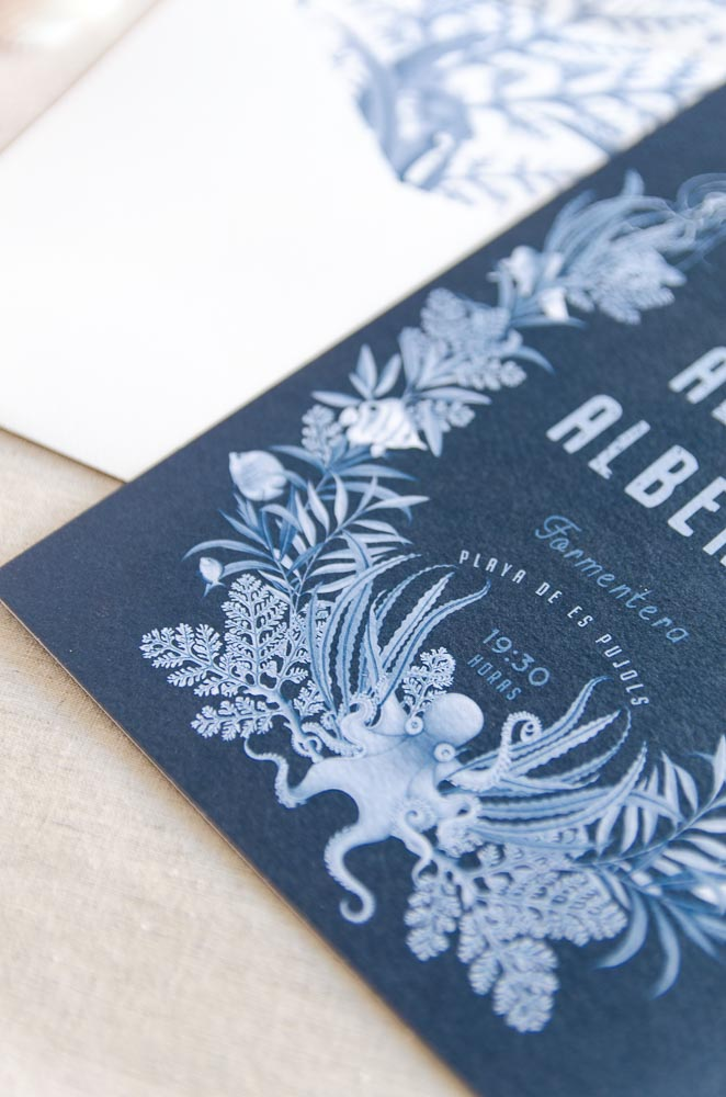 Invitaciones de boda originales playa mar peces-9670