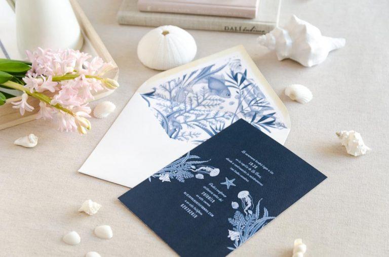 Invitaciones de boda originales playa mar peces-9675