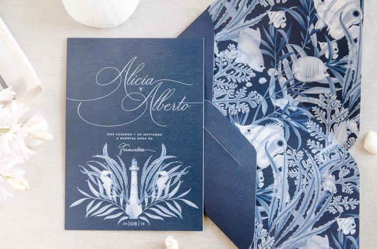 Invitaciones de boda originales playa mar peces-9788