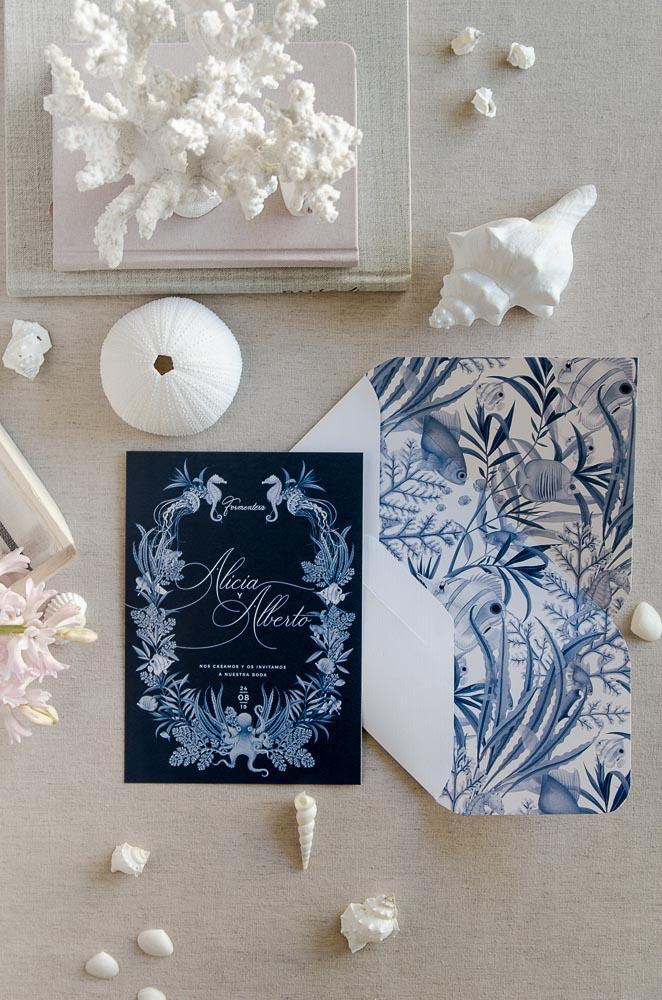 Invitaciones de boda originales playa mar peces-9795