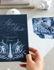 Invitaciones de boda originales playa mar peces-9831