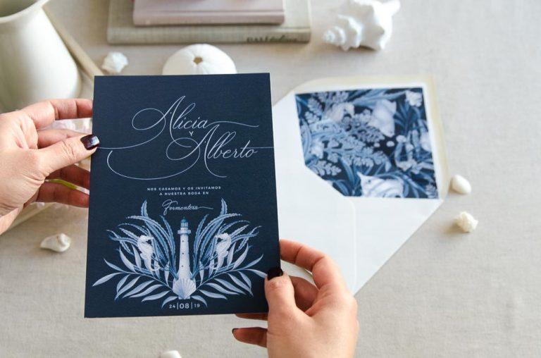 Invitaciones de boda originales playa mar peces-9831
