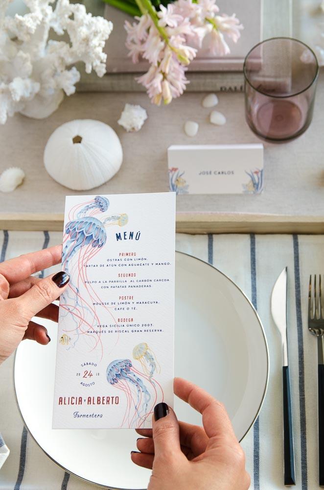 Invitaciones de boda playa mar peces-9895